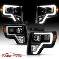 2009-14 Black Headlights pair For Ford F150 [LED Bar DRL] Driver And Passenger