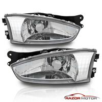 [with Bulbs] Chrome Headlights Headlamps for 97-02 Mitsubishi Mirage 2Dr Coupe
