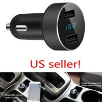 Dual 2 USB Car Quick Charger DC 5V 3.1A Adapter Voltage For iPhone Samsung Black
