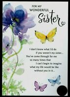Birthday HALLMARK  Butterflies Flowers - GLITTERED - For Sister - Greeting Card
