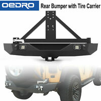 Textured Rear Bumper W/ Tire Carrier & LED Lights for 2007-2018 Jeep Wrangler JK