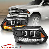 For 2009-2018 Dodge Ram 1500 2500 3500 Black LED Bar Dual Projector Headlights