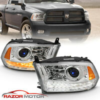 For 2009-2018 Dodge Ram 1500 2500 3500 Chrome LED DRL Projector Headlights