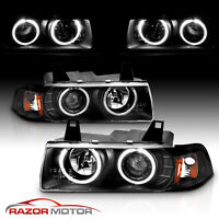 [Dual LED Halo] 1992-1999 BMW E36 3 Series Coupe Projector Black Headlights Pair