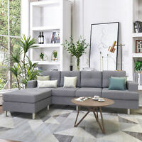 Sofa Sets for Living Room w/Reversible Chaise Lounge L Shape Home Furniture Grey