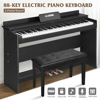 Electric Digital Piano Weighted Action 88 Key w/Bench+Stand+3 Pedal+Board Black