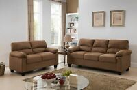 Kings Brand Furniture Brown Microfiber Living Room Set Sofa & Loveseat ~New~