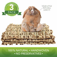 3x Woven Grass Mat for Rabbits Natural Hay Bed Small Animals Hamster Guinea Pigs