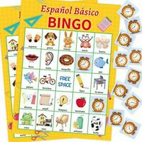 Spanish Bingo Game for Kids 24 Players Home School Party Game Supplies