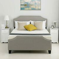 Twin Full Queen Platform Bed Frame Headboard Tufted Upholstered Wood Bedroom
