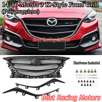 K Style Front Honeycomb Mesh Grill (Black) Fits 14-16 Mazda 3 4/5dr