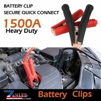 Battery Clamp Connector Jump 2Pair Heavy Duty Truck 1500AMP Electrical Red Black