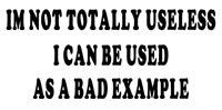 im not totally useless i can be used as a bad example  vinyl funny car decal