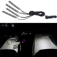 4 in 1 Car Charge 12 LED Interior Decoration Light Floor Atmosphere Lamp White