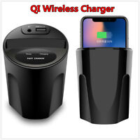 Car Cup Charger For Samsung & iPhone X 8 USB Fast QI Wireless Charging Holder