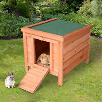 PawHut Wooden Rabbit Hutch 20'' Pet Habitat Cages Bunny Small Animal House New