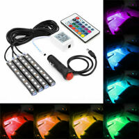 4Pcs Car Accessories RGB LED Light Dash Floor Foot Strip Lights Decorative Lamp