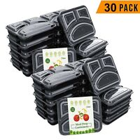 30 Pack Meal Prep Containers Food Storage Bento Box 3 Compartment BPA Free