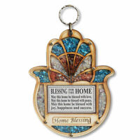 Wooden Hamsa Blessing Home - Good Luck Wall Decor Simulated Gemstones
