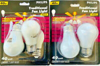 (4) Philips 40A15 White Appliance Fan Light bulb 40 watts 120 volt bulb
