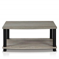 Modern Grey Coffee Table Wood End Side Shelves Shelf Living Room Furniture