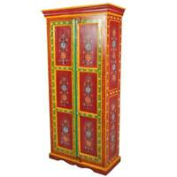 Handmade Red Floral Hand Painted 2 Door Solid Wood Armoire & Wardrobes Cabinet