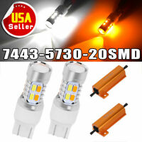 2x 7443 Switchback Amber/White 5730 Chip 20 SMD LED Turn Signal Lights+Resistors