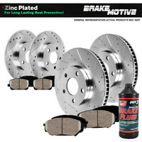Fits Front + Rear Drill Slot Brake Rotors And Ceramic Pads RX350 RX450H Sienna