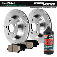 Rear Drilled & Slotted Brake Rotors And Ceramic Pads Kit Fits G35 350Z Rogue