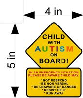 CHILD WITH AUTISM ON BOARD car/truck/home/window vehicle decals/stickers