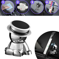 360° Rotation Magnetic Phone Mount Holder Car Dashboard Stand Accessories Silver