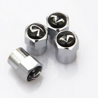 4x Car Wheel Tire Valve Dust Stems Air Caps Covers Accessories Logo For Infiniti