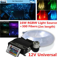 New Car LED Ceiling Light Fiber Optic Star Kit RGBW Lamp Source+300x Fiber Cable