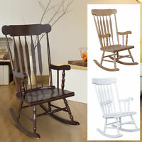 Traditional Slat Wood Rocking Chair Indoor Porch Rocker  Deck Furniture Patio