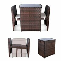 3PCS Space Saving Patio Furniture Wicker Rattan Bistro Table Chair Set Balcony