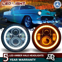 For Chevy Bel Air 1954-1959 Headlights 7in LED Halo Headlamps Amber Turn Signal