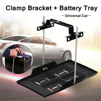 Adjustable Car Storage Battery Tray Holder Base + Hold Down Clamp Bracket Kit US