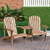 Outdoor Wood Adirondack Chair with Coner Table Patio Reclined Tete-A-Tete Bench