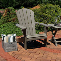 Sunnydaze All-Weather Patio Adirondack Chair with Faux Wood Design - Gray