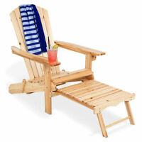 Wood Adirondack Chair w/Footrest Stool Ottoman Foldable Patio Deck Outdoor