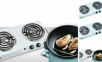 Courant Double Burner, 1700W Hot-Plate, White Countertop 2 Burners White