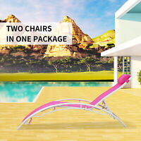 2PCS Outdoor Living Chaise Lounge Adjustable Sunbathing Chair with Handrest Pink
