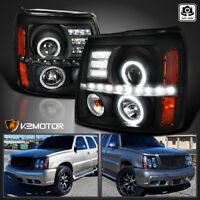 2002-2006 Cadillac Escalade Black LED Projector Halo Headlights