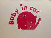 Safety Baby in Car Decal Girl Bambino Caution Little Kid New Pink Window Sticker