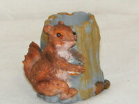 NEW SQUIRREL & TREE STUMP DESK TOP PEN PENCIL HOLDER PLANT BAMBOO POT ADORABLE