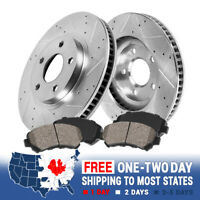 Front Drilled And Slotted Brake Rotors & Ceramic Brakes Chevy Cruze Sonic Volt