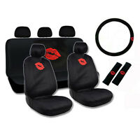 New Red Lips Kiss Front Back Car Seat Covers Steering Wheel Cover Set
