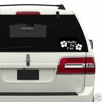 Baby in Car Baby Safety Sign White Flowers Car Vinyl Sticker Window Decal Decor