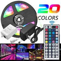 5M RGB 5050 Waterproof LED Strip light SMD 44 Key Remote 12V US Pow