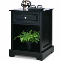 Night Stand End Accent Table Drawer Chest Sofa Side Bedside Storage Home Black